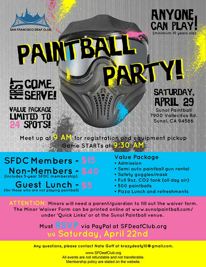 SFDC - Paintball Party - April 29 @  Sunol Paintball   Sunol   California   United States