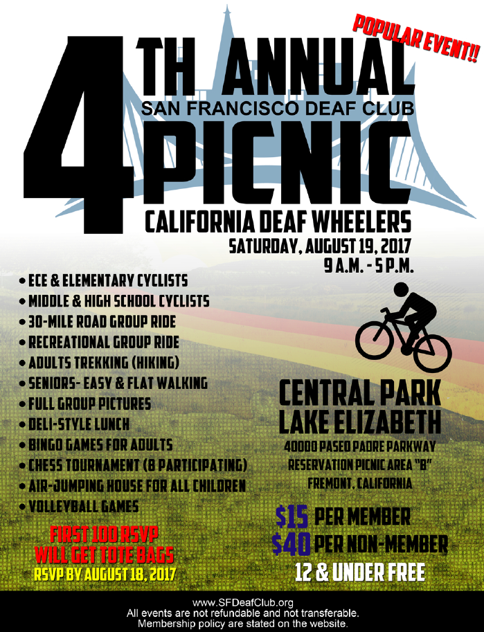SFDC - 4th Annual Picnic - August 18 @ Central Park Lake Elizabeth | Fremont | California | United States